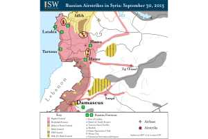Map of Russian air strikes in Syria, September 2015, the institute for the study of war.